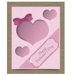 Clipped Pink Valentine Card Template with Hearts vector