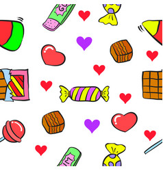 Collection sweet candy on doodle style vector