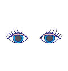 Colorful vision eyes with eyelashes style design vector