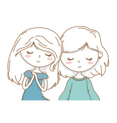 Cute couple girls friends portrait vector