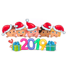 cute kids banner year pig 2019 vector image