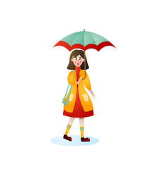 cute smiling woman walking under rain on city vector image