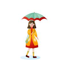 cute smiling woman walking under rain on city vector image