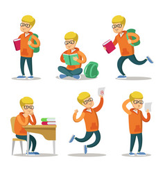 Cute student cartoon character set vector