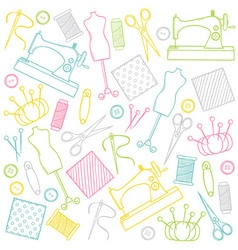 Doodle Sewing Set vector image