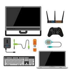 Electronic gadgets icons technology electronics vector