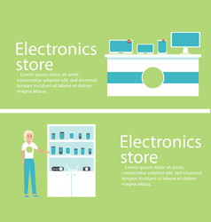 Electronics store banners with digital gadgets vector