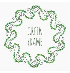 Elegant green floral frame vector