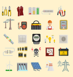 Energy power icons electricity safety vector