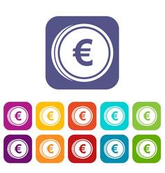 Euro coins icons set vector
