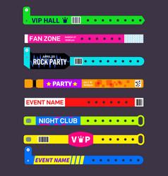event bracelets party festival entrance paper vector image