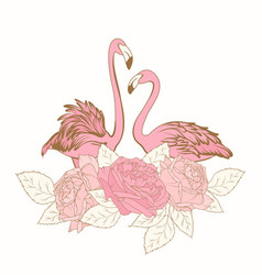 exotic pink flamingo birds loving couple rose vector image