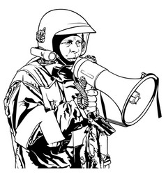 Fireman with megaphone vector