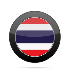 Flag of thailand shiny black round button vector