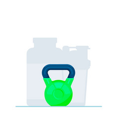 Flat kettlebell icon neon vector