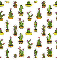Floral seamless pattern with cactuses vector