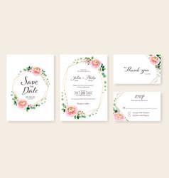 Floral wedding invitation save date rsvp vector