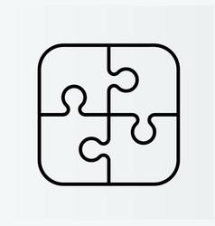 four piece flat puzzle section compare service vector image