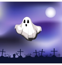 ghost on cemetery vector image