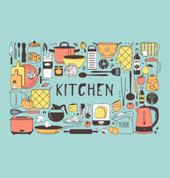 Hand drawn cooking tools and dishes vector