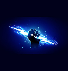 Hand holding powerful electric lightning vector