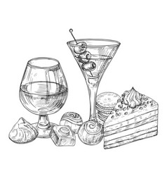 Hand sketched alcohol drinks chocolate and cakes vector