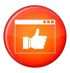 Hand with thumb up in browser icon flat style vector