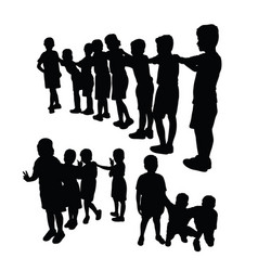Happy children activity silhouettes vector