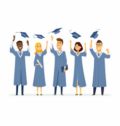 Happy graduating students - cartoon people vector