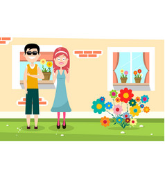 happy man and woman with family house and flowers vector image