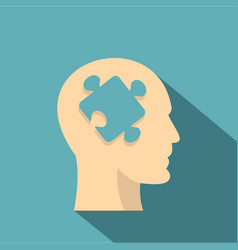 Head silhouette with jigsaw puzzle icon flat style vector