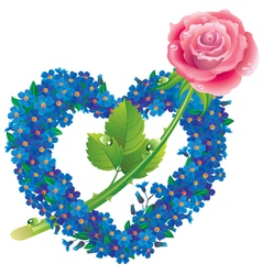 Heart from flowers forget me with a rose vector image