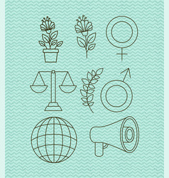 Human rights and peace set icons vector