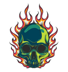 Human skull colored with flames vector