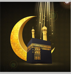Islamic background with golden moon and kaba vector