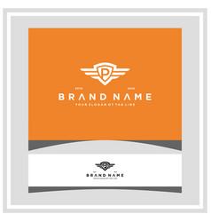 Letter p shield wing logo design concept vector