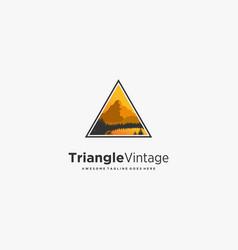logo triangle with landscape vintage badge vector image