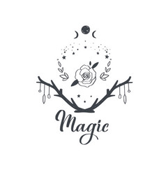 magical boho pagan composition with vector image