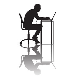 Man working at computer silhouette with vector