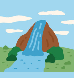 Mountain with waterfall on jeju island in korea vector