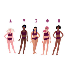 Multiethnic characters female body types vector