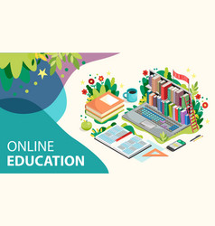 online learning concept online education with vector image