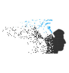 Open mind radio interface dispersed pixel icon vector