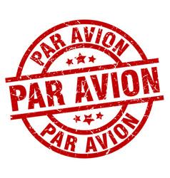 Par avion round red grunge stamp vector