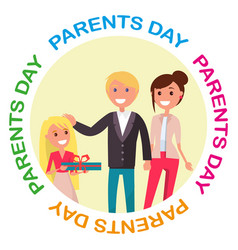 Parents day banner with colourful inscription vector