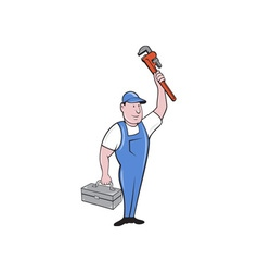 Plumber Toolbox Raising Monkey Wrench Cartoon vector image