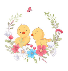 Postcard poster cute little chickens in a wreath vector