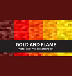 Rectangle pattern set gold and flame seamless vector