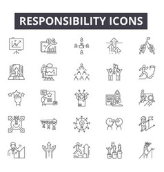 Responsibility line icons signs set vector