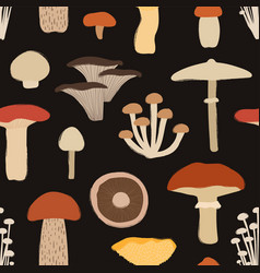 Retro seamless pattern with mushrooms vector